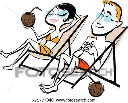 Frau im liegestuhl clipart  Stock Illustrations of Man and woman drinking cocktails on beach ...