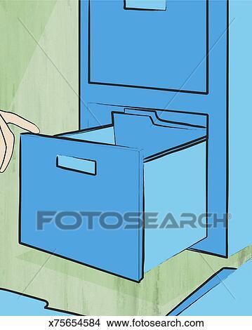 Disegni schedario primo piano di cassetto aperto for Disegni di casa piano aperto