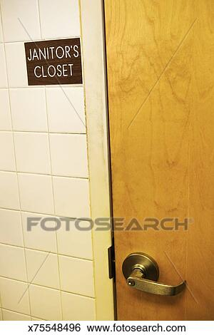 Stock Images Of Janitors Closet Door X75548496