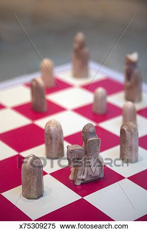 Stock Image Of Old Style Chess Board And Pieces Mid Game
