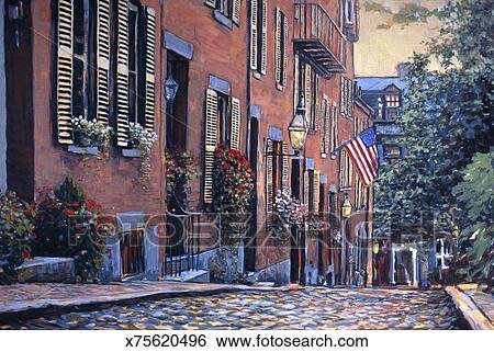 Stock afbeeldingen stad straat x75620496 zoek stockfotografie poster foto 39 s beelden en - Kleur schilderij ingang ...