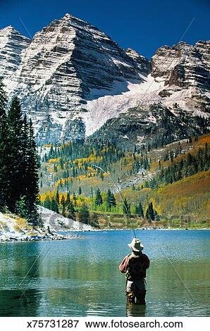 Picture of usa colorado aspen man fly fishing in maroon for Aspen fly fishing