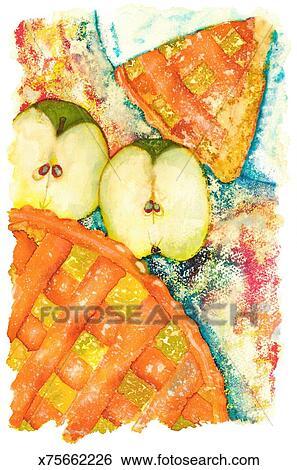 Banque d 39 illustrations tarte aux pommes x75662226 - Dessin tarte aux pommes ...