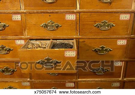 Stock Photo of Cabinet in Chinese herb store, drawer open ...