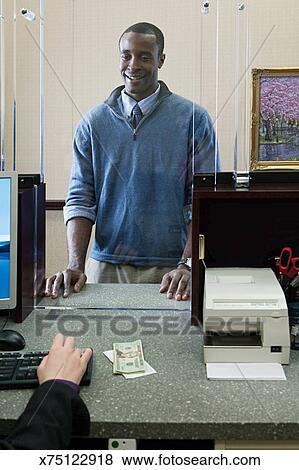 Pictures of Customer and bank teller x75122918 Search