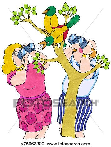 Stock Illustrations Of Mr Mrs Bird Watching X75663300