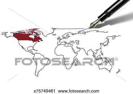 Clipart of pen draws a worldmap with canada highlighted x75749461 clipart pen draws a worldmap with canada highlighted fotosearch search clip art gumiabroncs Image collections