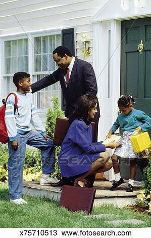 Stock Photo of Parents going to work while kids leave for school ...