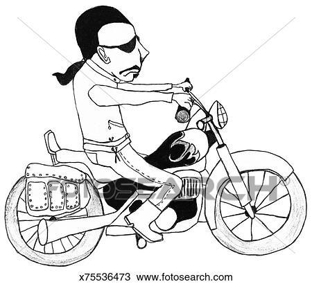 手绘图 - 骑自行车的人