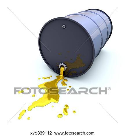 Oil Barrel Drawing Oil Barrel Spilling Liquid