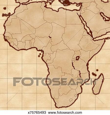 手绘图 - 地图, 在中, 非洲