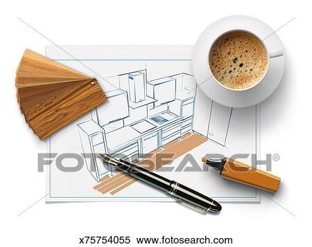 stock illustration kueche zeichnung mit proben von holz muster x75754055 suche clipart. Black Bedroom Furniture Sets. Home Design Ideas