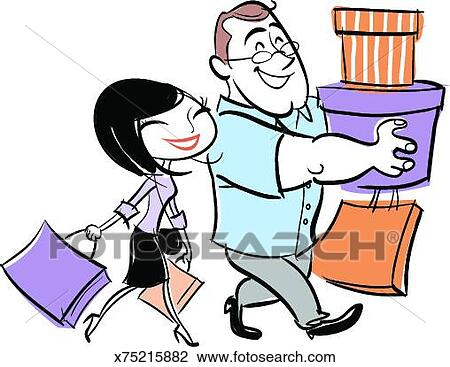 clip art of man and woman carrying shopping bags x75215882 search rh fotosearch com old man and woman clipart men and women clipart