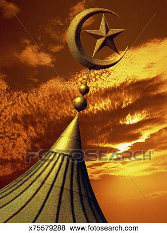 Picture - Dome with Muslim star and crescent. Fotosearch - Search Stock Photos, Images, Print Photographs, and Photo Clip Art
