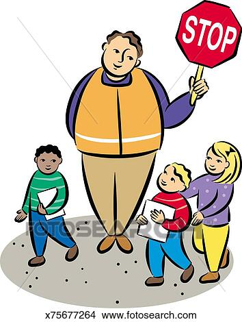 Drawings of Crossing Guard & Children x75677264 - Search Clip Art ...