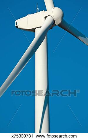 Stock Photography of closeup of wind turbine generator and blades ...