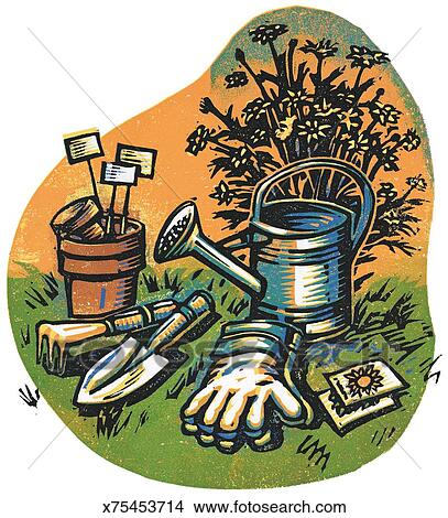 Drawings of gardening tools x75453714 search clip art for Gardening tools drawing