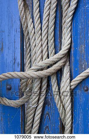 Stock Bild - seil, dazwischen, blau, malen, holz ...