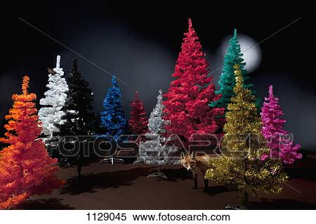 coleccin de imgen vario coloreado rboles de navidad y un disecado zorro