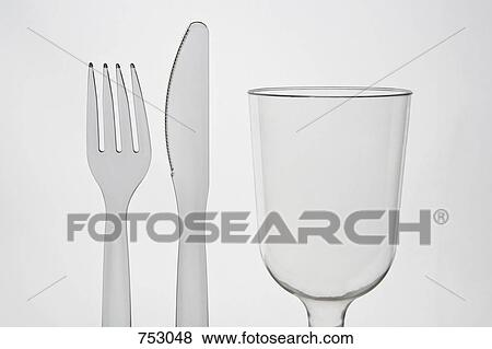 Pictures of A plastic knife and fork and a glass 753048 ...