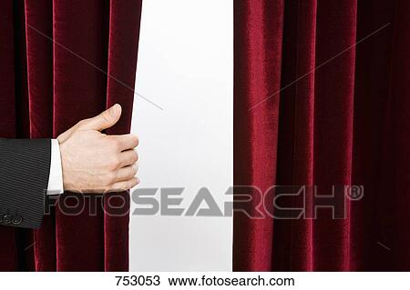 stock photo a hand opening a red velvet curtain fotosearch search stock images - Velvet Curtain