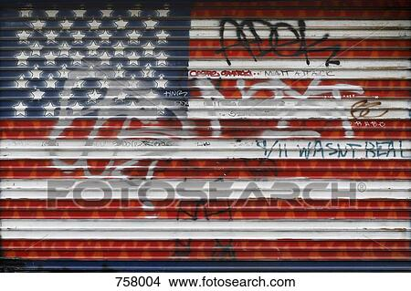 Stock Photo Of The American Flag Painted On A Garage Door