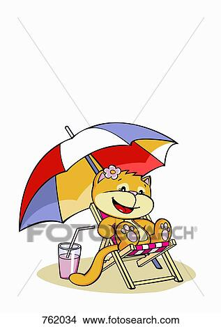 Drawings Of A Cartoon Cat Sitting In A Sun Lounger 762034