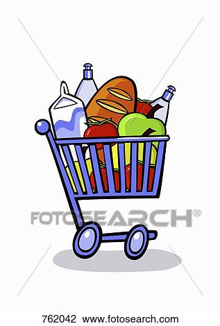 clip art of a cartoon shopping trolley full of groceries 762042 rh fotosearch com shopping trolley clipart trolley clipart black and white