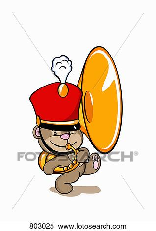 Marching Band Hat Cartoon A bear wearing a marching band
