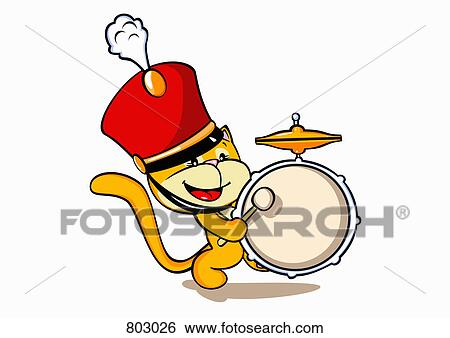 clip art of a cat wearing a marching band hat and playing a drum rh fotosearch com march clip art images march clip art pictures