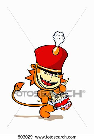 Clip Art Of A Lion Wearing Marching Band Hat And Playing Snare