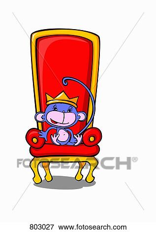 clip art of a monkey sitting on a throne wearing a crown 803027 rh fotosearch com throne clipart king's throne clipart