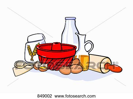 Baking Ingredients Clipart Clipart of Stil...