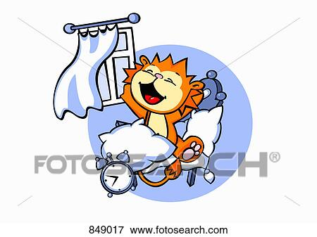 clip art of a cartoon lion waking up in a bedroom 849017 search rh fotosearch com waking up clipart wake up clipart free