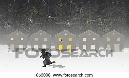 剪贴画 圣诞老人, 跑, 在以前, a, 若干房屋的行