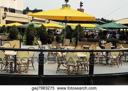 Furniture At An Outdoor Cafe, McCormick Tribune Plaza, Millennium Park,  Chicago, Illinois, USA