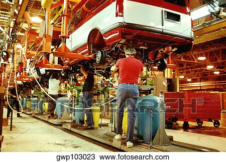 Stock Photo Of Workers Working In A Plant General Motors