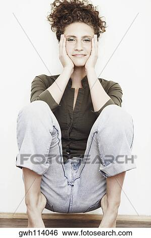 Portrait of young adult woman with health skin of face - csp2176847