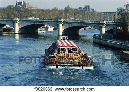 Stock photo of france paris bateau mouche on the seine pont de la concorde - Vernis pont de bateau ...