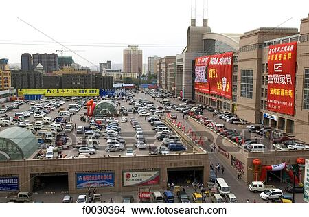 Banco de Imagem - china, xinjiang, urumqi, comercial, centro, estacionamento. Fotosearch - Busca de Imagens, Fotografias Mural, Fotos Clipart