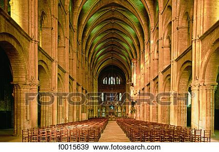 stock photograph of france champagne region reims st remi basilica nave f0015639 search. Black Bedroom Furniture Sets. Home Design Ideas