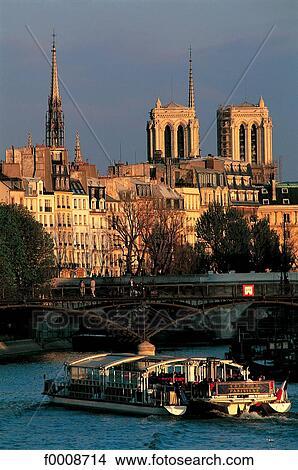 Stock photo of france paris pont des arts and bateau mouche f00 - Vernis pont de bateau ...