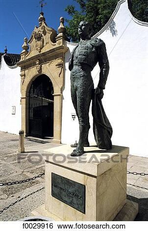 Stock Images of Spain, Andalusia, Ronda, plaza de Toros, monument to Ordonez ...