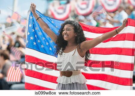举起 美国人旗