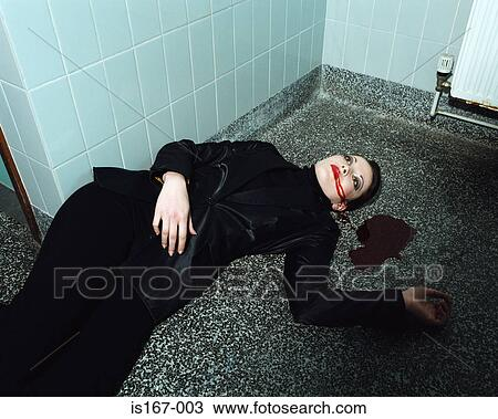 Stock Photo of Woman lying dead on the floor is167-003 ...
