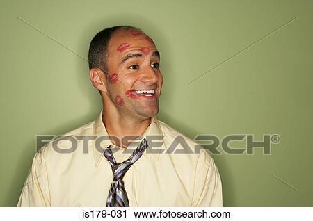 banques de photographies homme affaires couvert dans rouge l vres baisers is179 031. Black Bedroom Furniture Sets. Home Design Ideas