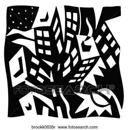 stock bild schwarz wei geb ude schornstein klumpig stadt stadt leben gebogen r nder. Black Bedroom Furniture Sets. Home Design Ideas
