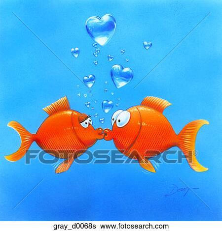 Banque d 39 illustrations deux poisson rouge amoureux for Recherche poisson rouge