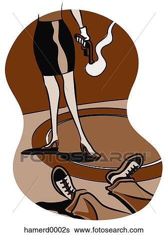 Stock Illustration of Woman Holding Smoking Gun ...