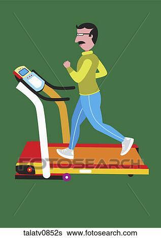 Stock Illustration of Man running on treadmill. talatv0852s ...